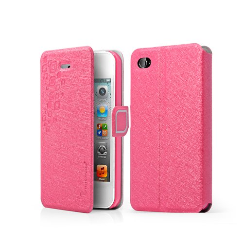 =>  Hot Pink Iphone 4 4s At&t Folio Case with Kickstand Pu Leather and Microfiber Material Cover Magnetic Buckle 1 Free Anti-dust Plug Stopper-random Color