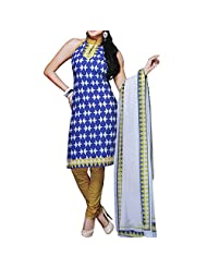Aksana Collections Blue And White Printed Cotton Dress Material