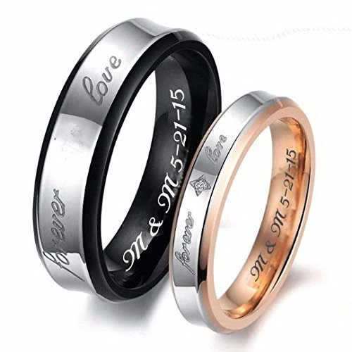 Personalized Couples Forever Love Gold & Black Stainless Steel Ring Set Custom Engraved Free