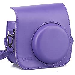 CAIUL Vintage Instax Mini 8 Carry Camera Case Bag With Shoulder Strap, PU Leather, Purple