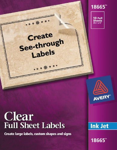 avery clear full sheet labels for inkjet printers 8 5 x 11 inches