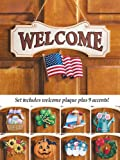 10 Piece Set Multi Holiday Interchangeable Seasonal Welcome Sign Decoration Wall Hanging Door Festive Plaque Whimsical Decor Spring Christmas St Patrick s Day Easter 4th of July Summer Halloween