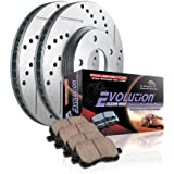 Power Stop K1858 Rear Ceramic Brake Pad and Cross Drilled/Slotted Combo Rotor One-Click Brake Kit