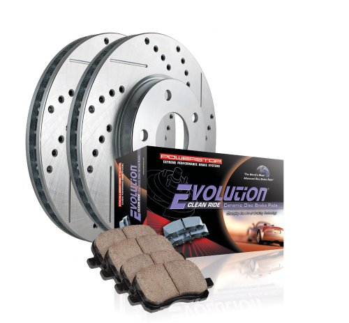 Power Stop K2430 Front//Rear Ceramic Brake Pad and Cross Drilled//Slotted Combo Rotor One-Click Brake Kit
