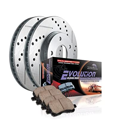 Max Brakes Front Elite Brake Kit KT114881 Fits: 2007 07 2008 08 2009 09 2010 10 Hyundai Veracruz E-Coated Slotted Drilled Rotors + Ceramic Pads