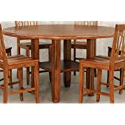 Tuscany Round Leg Gathering Table w Expandable Top & Shelf