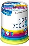 三菱化学メディア Verbatim CD-R 1回記録用 48倍速 スピンドルケース100枚パック ワイド印刷 ホワイトレーベル SR80FP100V1E ランキングお取り寄せ