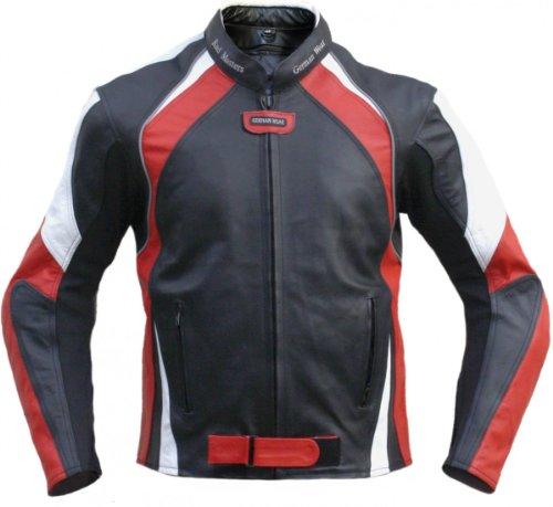 Lederjacke Motorradjacke Chopperjacke aus Rindsleder Kombijacke Schwarz/Rot Weiss, Größe:58