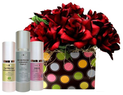 [Limited Time Sale Events] The Luxurious Organic AgeBloc Wrinkle Rewind Pampering Skincare Gift Set Includes Wrinkle Watcher Antioxidant Treat 4X($76/50ml), Eye Watcher Cell Secure Eye Serum($62/30ml) and DMAE + Pro Vitamin B5 Revitalizing Complex($56/30ml) With Beautiful Velvet Rose Flower.