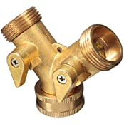3/4'' Solid Brass Double Two Way Garden Tap Connector Adaptor Hosepipe Splitter