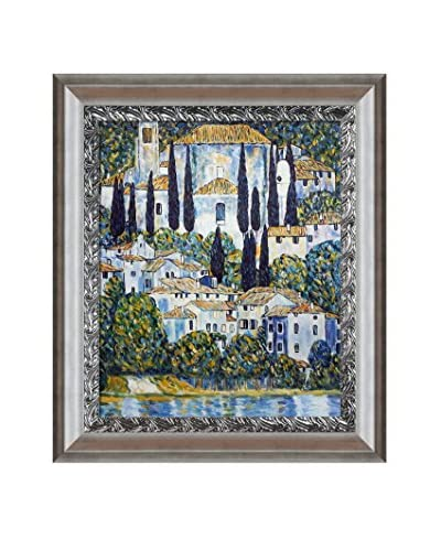 Gustav Klimt's Church In Cassone (Landscape With Cypress) Framed Hand Painted Oil Canvas, Multi, 31.5″ x 27.5″