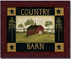 Country Barn Salt Box Primitive Folk Art Sign Framed
