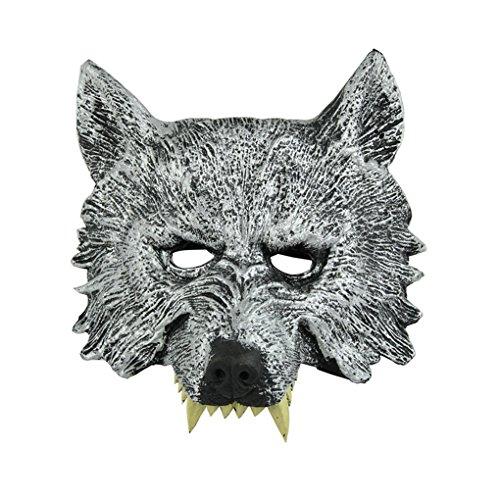 [Halloween Mask, Hatop Creepy Wolf Latex Head Mask Cosplay Animal Halloween Party Fancy Ball Mask] (Anonymous Man Costume)