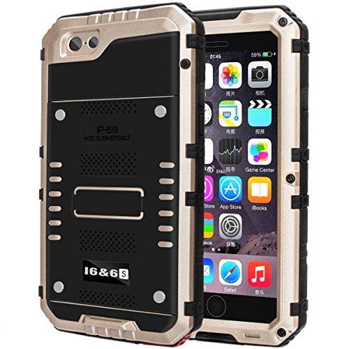 防水ケース Kirlor 携帯電話ケース iPhone 7/7 plus対応 IP68保護等級 防水防滴/防塵/防雪/耐衝撃 ストラップ付き 全密封アイフォンカバー 指紋認識可(iphone7適用/金)