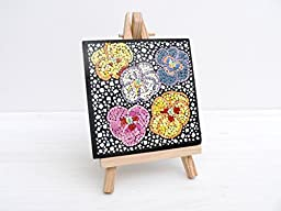 Mosaic Wall Art Original ACEO Floral Abstract Miniature Painting EggShell Mosaic Vintage Style Mixed Media Collage Home Decor Mini Gift
