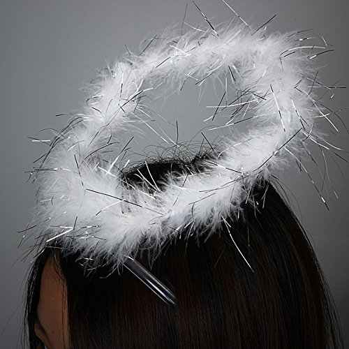 Angel Feather Halo Ring Headband Party Costume Dress (Angel Halo Fancy Dress)