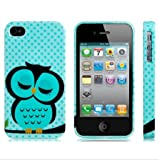 Sleeping Owl Printed Silicone Glittery Protective Case for iPhone 4/4S