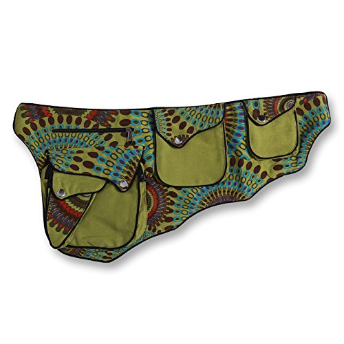 Arte e magia Goa marsupio marsupio cintura Hippie Psy, verde (verde chiaro), ca. 27 x 13 x 4 cm