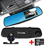 HD Car DVR Camera, Costech® Rearview Mirror Dual Lens Digital Video Recorder with Night Vision Support 64GB TF Card 1080P (black)