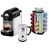 Nespresso C60 Pixie Chrome Espresso Machine with Aeroccino Milk Frother and Bonus 30 Capsule Carousel