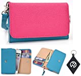 Light Blue Pink Wallet Phone Cover Wristlet Clutch Case Fits HTC Windows Phone 8S + NuVur #153; Keychain |ESAMMTBM|