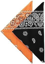 Levi\'s Men\'s Printed Bandanas (Pack of 2), Orange/Black, One Size