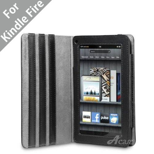 Acase Kindle Fire Premium Micro Fiber Leather Case with built-in Stand for Kindle Fire (Black)