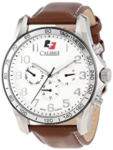 """Calibre Men's SC-4B1-04-001.7 """"Buffalo"""" Stainless Steel and Brown Leather Watch"""
