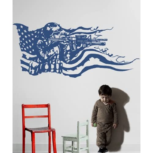 Vinyl Wall Decal Sticker America Flag with U.S. Soldier GFoster155s