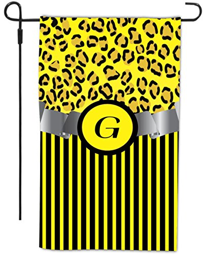 """Rikki Knighttm Letter """"G"""" Initial Yellow Leopard Print And Stripes Monogrammed Design Decorative House Or Garden Flag 12 X 18 Inch Full Bleed (Proudly Made In The Usa) front-605602"""
