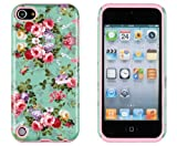 DandyCase 2in1 Hybrid High Impact Hard Vintage Sea Green Floral Pattern + Pink Silicone Case Cover For Apple iPod Touch 5 (5th generation) + DandyCase Screen Cleaner