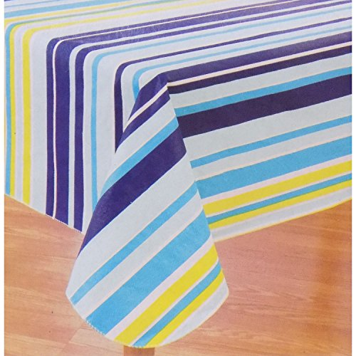Cabana Navy and Teal Stripe Flannel-backed Vinyl (Peva) Tablecloth (52x90)