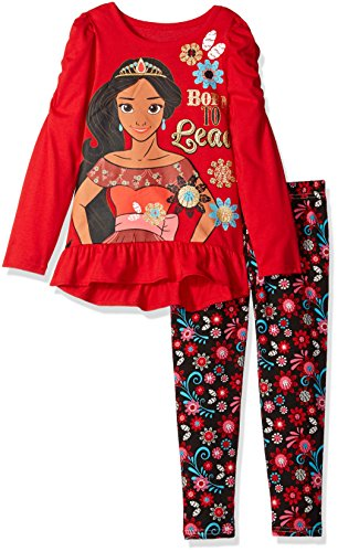 "Disney Little Girls' 2 Piece Elena of Avalor Hi-Lo Top and Legging Set, ""Born to Lead"""