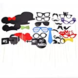 Masione 31PCS Photo Booth Props Accessories Glass Cap Moustache Lips With Stick For Wedding Birthday Party