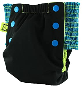 Antsy Pants Pull-Up Cloth Diapers AIO / Pocket Reusable Toddler Diaper / Training Pant - Black with Blue sides, size 1T