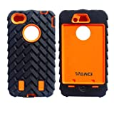 Meaci® Iphone 4 4s Case 3in1 Tire Stripe Combo Hybrid Defender High Impact Body Armorbox Hard Pc&silicone Case (orange)