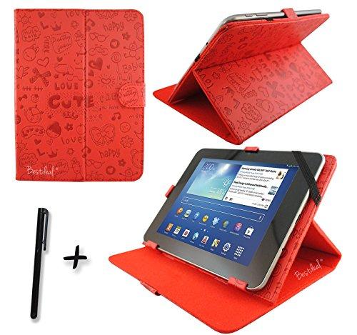 """Niedlichen Rot PU Lederner Tasche Case Hülle für Point of View ProTab 3XXL & ProTab 25XXL 10.1"""" Zoll Tablet PC + Stylus"""