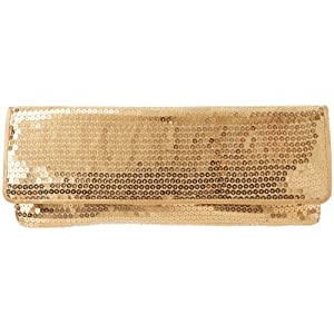 La Regale Full Sequin Slip Piped 21016 Clutch,Gold,One Size
