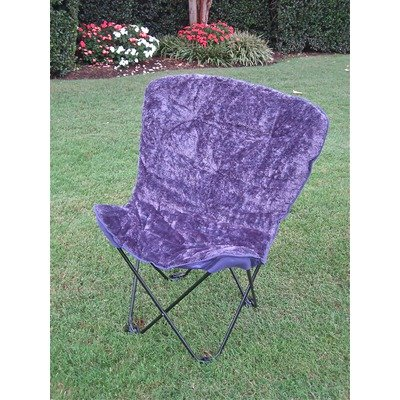 Caravan Folding Faux Fur Butterfly Chair With Matching Carry Bag Fabric  Color: Deep Purple