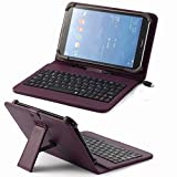 """Universal Pu Leather Folding Folio Case Cover with Keyboard (7kpp) for Envizen Em63 7""""/ Emerson 7"""" / Fasttouch(tm) 7'' A23 / Fasttouch(tm) 7"""" A13 A13-q88 / Fasttouch(tm) Ft-a7 7"""" (Purple Keyboard Case)"""