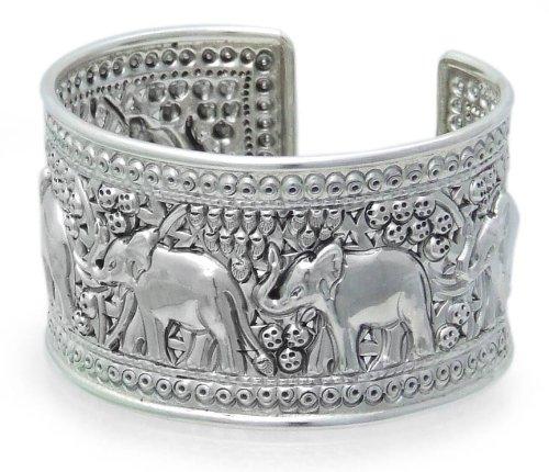 Ethnic Sterling Silver Cuff Bracelet, 'Elephant