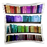 3dRose pc_112957_1 Colorful bookshelf books-Rainbow bookshelves-reading book geek library nerd-librarian author-Pillow Case, 16 by 16