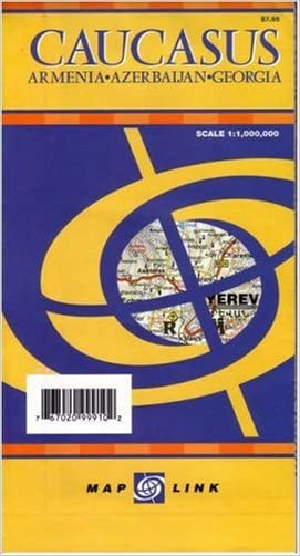 Caucasus: Armenia, Azerbaijan, and Georgia Map (English, French, Italian, German and Russian Edition)