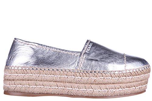 Prada espadrillas espadrilles donna leather argento EU 40 1S742F 55L F0118