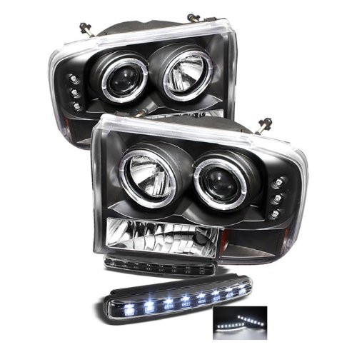 Ford F250 Super Duty / Ford Excursion 1PC Projector Headlights Version 2 LED Halo LED Black Housing With Clear Lens