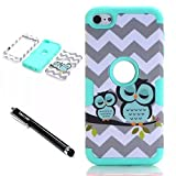 iPod Touch 6th Generation Case,iPod Touch 5 Case,Lantier 3 Layers Verge Hybrid Soft Silicone Hard Plastic TUFF Triple Quakeproof Drop Resistance Protective Case Cover with Stylus Waves Owl/Mint Green