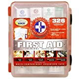 First Aid Kit With Hard Case- 326 pcs- First Aid Complete Care Kit – Exceeds OSHA & ANSI Guidelines – Ideal for the Workplace – Disaster Preparedness (Colors May Vary)