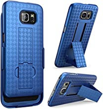 Galaxy S6 Case, i-Blason Transformer Slim Hard Shell Holster Case Combo with Kickstand and Locking Belt Swivel Clip for Samsung Galaxy S6 (Blue)