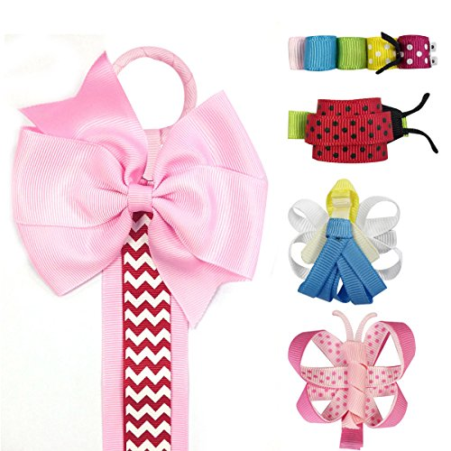 Wrapables Angel, Butterfly, Ladybug, Caterpillar Ribbon Sculpture Hair Clips with Chevron Hair Clip / Hair Bow Holder, Pink
