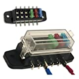 Auxiliary Automotive Fuse Box Holder - Add 6 Fused Circuits for Stereo, Amp, GPS - Taiwan